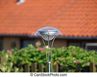 lâmpada, jardim, solar