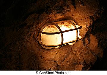 lâmpada, ligado, um, parede