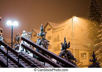 lâmpada, noturna, neve, sob
