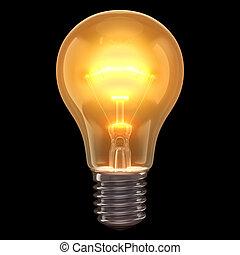 lâmpada, queimadura, experiência preta