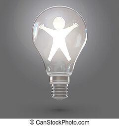 lâmpada, render, 3d