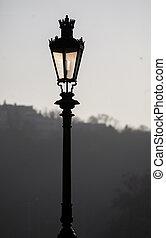 lâmpada, rua, antigas