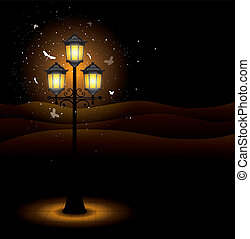 lâmpada, rua, antigas, noturna