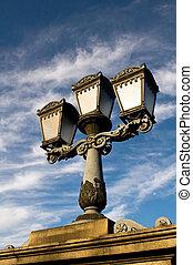 lâmpada, rua, budapest, clássicas