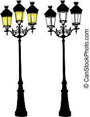 lâmpada, rua, retro