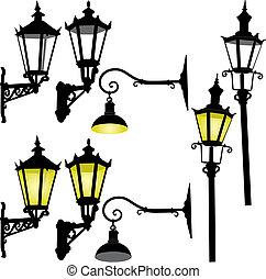 lâmpada, rua, retro, lattern