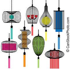 lâmpada, vetorial, modernos, jogo