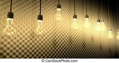 lâmpadas incandescentes, contra, acústico, espuma