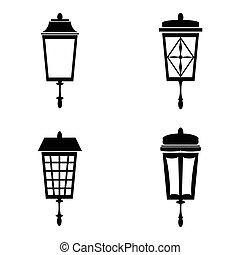 lâmpadas, jogo, rua, ícone