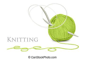 lã, agulhas, tricotando, verde