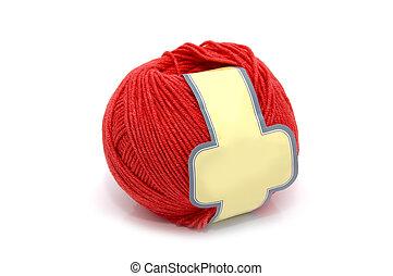 lã, bola, vermelho