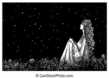 lã¶wenzahn, sternenhimmel, dunkel, feld, nacht
