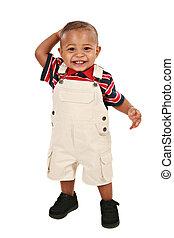 lächeln, 1-year, altes , baby- junge, stehende , einfassung-...