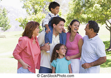 lächeln, ausgedehnt, park, familie