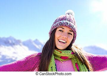 lächeln, berge., winter, m�dchen, glücklich