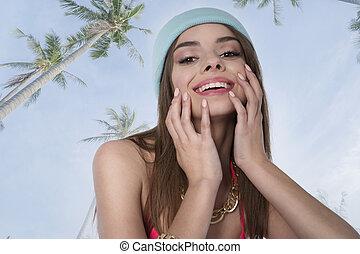 lächeln, brünett, mit, palmen