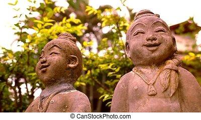 lächeln, buddha, skulptur, thailand., video, makro,...