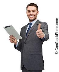 lächeln, buisnessman, mit, tablette pc, edv