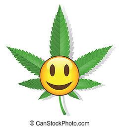 lächeln, cannabis, zeichen