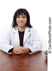 lächeln, doktor, sitzen schreibtisch
