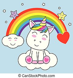 lächeln, einhorn, wolke, sitzen