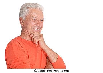 lächeln, freigestellt, hintergrund, älter, weißes, mann