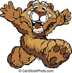 lächeln, gebirgs löwe, oder, puma, rennender , mit, hände,...