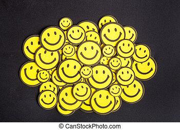 lächeln, gelber , gesichter, tisch