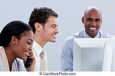 lächeln, geschäft mannschaft, arbeitende , in, a