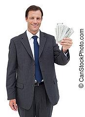 lächeln, geschäftsmann, besitz, dollar
