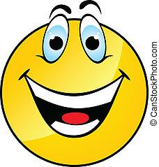lächeln, glücklich, gelbes gesicht
