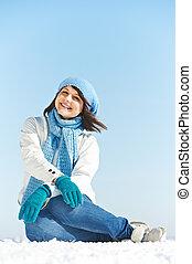lächeln glücklich, junges mädchen, in, winter