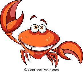 lächeln glücklich, karikatur, krabbe, rotes