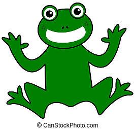 lächeln, grüner frosch