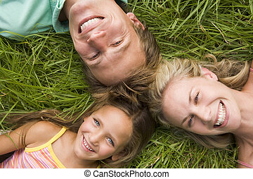 lächeln, grasfamilie, liegen