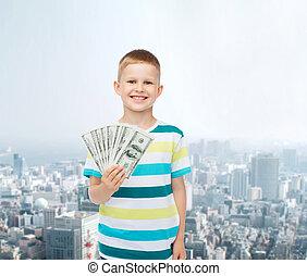 lächeln, junge, besitz, dollar, bargeld, geld, in, seine, hand