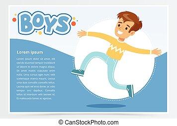 lächeln, junge betrieb, knaben, banner, für, werbung, broschüre, fördernd, blättchen, plakat, darstellung, wohnung, vektor, element, für, website, oder, beweglich, app