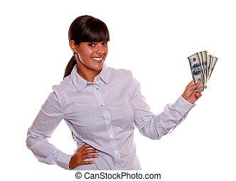 lächeln, junge frau, besitz, bargeld, geld