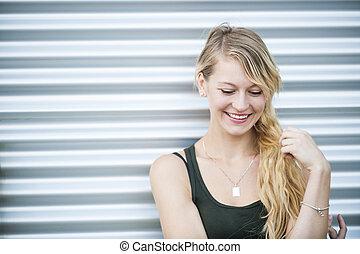 lächeln, junger, blond, frau