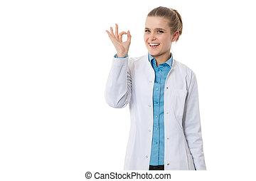 lächeln, junger doktor