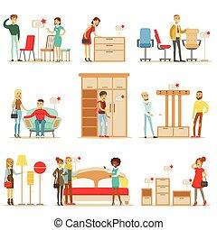 Möbel Shoppen laden dekor kleiderbügel shoppen käufer haus clipart vektor