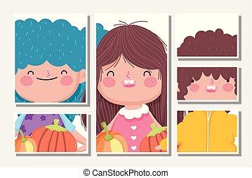 lächeln, kürbise, banner, erntedank, kinder, glückliche familie