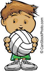 lächeln, kind, besitz, volleyballkugel, vektor, karikatur, abbildung