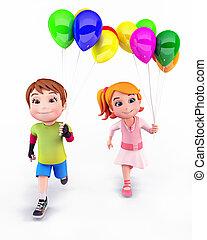 lächeln, kinder, mit, luftballone