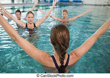 lächeln, klasse, weibliche , fitness