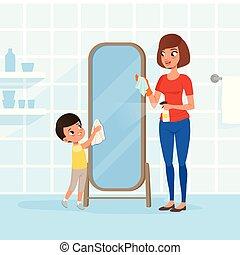 lappen junge wohnung wischen vektor spiegel gang junge wohnung freigestellt haushalt. Black Bedroom Furniture Sets. Home Design Ideas