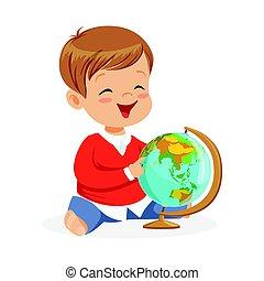lächeln, kleiner junge, sitzen, und, spielende , mit, globe., kind, lernen, welt, bunte, karikatur, zeichen, vektor, abbildung