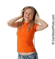 lächeln, kopfhörer, musik, m�dchen, zuhören
