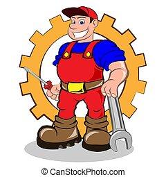 lächeln, mechaniker, mann