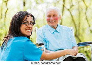 lächeln, netterweise, krankenschwester